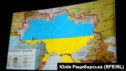 Цвета национального флага Украины, наложенные на карту 1871 г., обозначающую границы распространения диалектов украинского языка