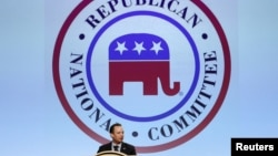 Republican National Committee Chairman Reince Prebus speaks during a luncheon at the Republican National Committee Spring Meeting at the Diplomat Resort in Hollywood, Florida, April 21, 2016.