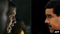 Foto konbine ki montre Prezidan konteste Vnezuela a Nicolas Maduro, (adwat) ak Juan Guaido, prezidan pwovizwa Venezuela a ke Etazini ak plizyè lòt peyi rekonèt, (agoch).