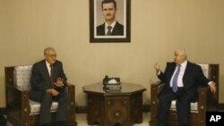 لخدار براہیمی نے شام کے وزیرِ خارجہ ولید المعلم سے بھی ملاقات کی