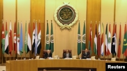 FILE - Arab League Secretary-General Ahmed Aboul Gheit speaks during Arab League foreign ministers emergency meeting on Trump's decision to recognise Jerusalem as the capital of Israel, in Cairo, Dec. 9, 2017.