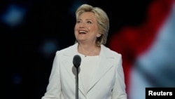 Democratic U.S. presidential nominee Hillary Clinton accepts the nomination on the fourth and final night at the Democratic National Convention in Philadelphia, July 28, 2016.