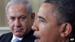 وائٹ ہاؤس ملاقات کے بعد، صدر اوباما اور نتن یاہواخباری نمائندوں سے باتیں کرتے ہوئے