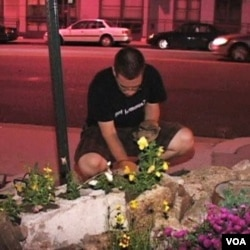 "Seorang ""gerilyawan"" menanam bunga di salah satu sudut kota Washington DC."