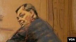 Sketsa tersangka mata-mata Rusia, Evgeny Buryakov saat berada di pengadilan federal AS (Foto: dok).