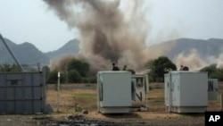 Une explosion près d'une base de l'ONU dans le Kordofan-Sud, 14 juin 2014. (AP Photo)