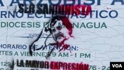 Pintan figura de Daniel Ortega en paredes de Curia Arzobispal en Nicaragua