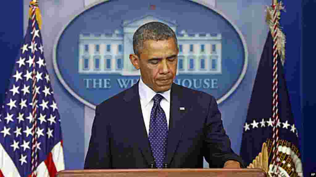 President Barack Obama speaks at the White House in, following the explosions at the Boston Marathon, April 15, 2013.