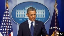 波士顿爆炸案发生后奥巴马总统在白宫发表讲话。