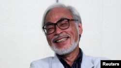 Japanese director Hayao Miyazaki speaks during a news conference held to announce his retirement from film in Tokyo, Sept. 6, 2013.