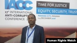 FILE - Alfredo Okenve at the International Anti-Corruption Conference in Panama in December 2016.