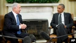 Presiden AS Barack Obama (kanan) menerima PM Israel Benjamin Netanyahu di Gedung Putih, Rabu (1/10).