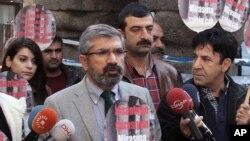 Tahir Elci, the head of Diyarbakir Bar Association, speaks to the media shortly before being shot and killed in Diyarbakir, Turkey, Nov. 28, 2015.