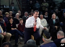 Republican presidential candidate New Jersey Gov. Chris Christie speaks at a town hall-style campaign event in Hudson, N.H., Feb. 8, 2016.