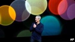 美国苹果首席执行官库克在旧金山新产品发布会上