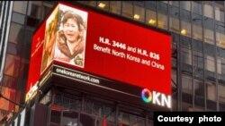 하와이에 본부를 둔 비영리단체 '원코리아네트워크(OKN)'가 21일 뉴욕 타임스스퀘어 옥외광고판에 북한 정권의 폭정을 고발하고 '거짓 평화'의 위험성을 경고하는 영상을 게시했다. 사진 제공 : OKN.