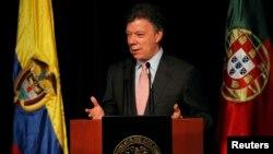 FILE - Colombia's President Juan Manuel Santos in Bogota, April 17, 2013
