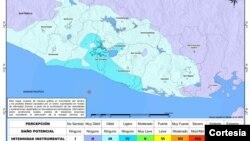 Mapa donde se muestra la intensidad del sismo.