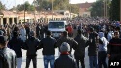 Funérailles d'un mineur mort dans un accident dans une mine de charbon désaffectée dans la ville de Jerada, Maroc, 1er février 2018.