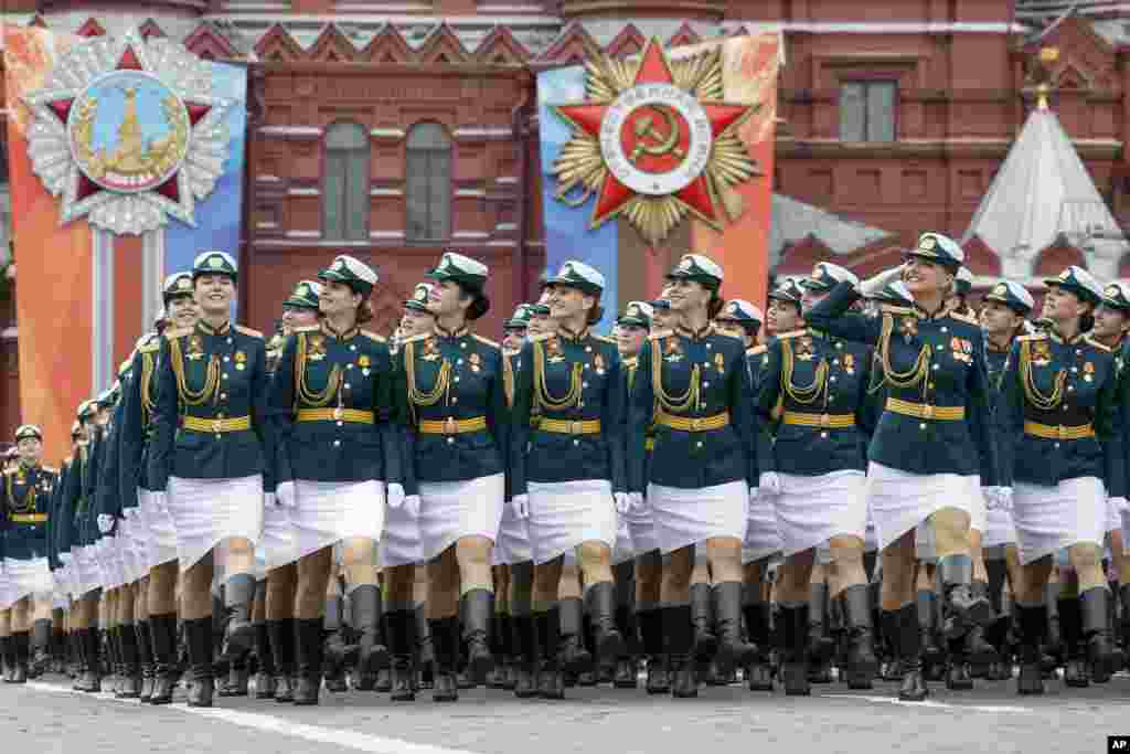 Russian cadets march during a rehearsal for the Victory Day military parade in Red Square in Moscow.