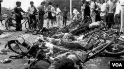 Para demonstran yang menjadi korban penumpasan militer Tiongkok 22 tahun lalu (foto dok.: 4 Juni 1989).