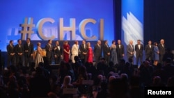 FILE - Members of the Congressional Hispanic Caucus Institute are seen on stage at the CHCI's 38th Awards Gala, at the Walter E. Washington Convention Center Washington, D.C., Oct, 8, 2015.
