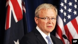 ທ່ານ Kevin Rudd ລັດຖະມົນຕີຕ່າງປະເທດອອສເຕຣເລຍ. ວັນທີ 22 ກຸມພາ 2012.