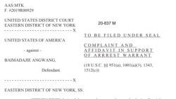 在美国联邦纽约东区法院针对白马达杰·昂旺的指控书第二页截图。