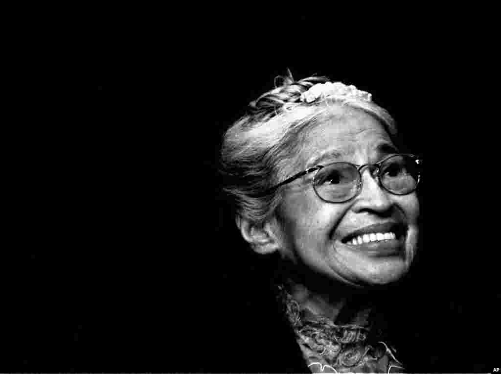 FILE - Rosa Parks smiles during a ceremony where she received the Congressional Medal of Freedom in Detroit, Michigan, Nov. 28, 1999.
