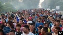 La caravane de migrants à Ciudad Hidalgo, Mexique, le 21 octobre 2018.