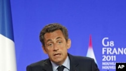French President Nicolas Sarkozy during a press conference at the G8 summit in Deauville, France, May 26, 2011