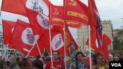 莫斯科支持哈萨克斯坦石油工人集会