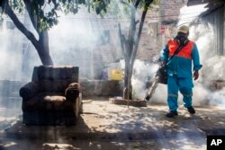 FILE - A city worker fumigates insecticide to combat the Aedes Aegypti mosquitoes that transmit the Zika virus, at the San Judas Community in San Salvador, El Salvador, Jan. 26, 2016.