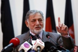 Ahmad Yusof Nurestani, chairman of the Independent Election Commission, speaks during a press conference in Kabul, Afghanistan, July 7, 2014.