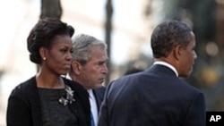 奧巴馬總統與和前任總統喬治布殊共同出席911紀念儀式