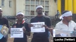 Des membres de la Lucha manifestent à Goma, en RDC, le 1er mai 2018. (Twitter/Lucha)