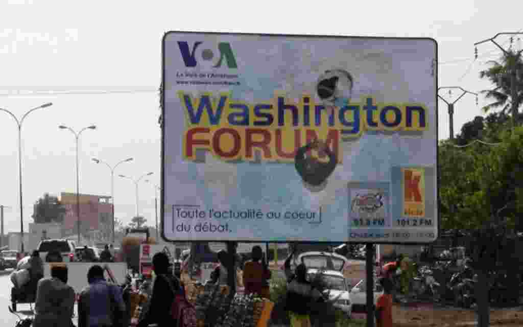 Washington Forum Ad on the streets of Mali for VOA's French to Africa.