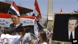 시리아의 아사드 대통령 지지 시위