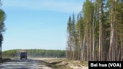 西伯利亚北部汉特-曼西斯克地区一处油井旁的道路。(美国之音白桦拍摄)