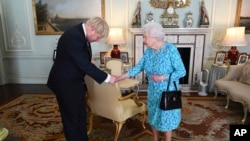 FILE - Britain's Queen Elizabeth II welcomes Boris Johnson, then newly-elected leader of the Conservative party, during an audience at Buckingham Palace, London, England, July 24, 2019.