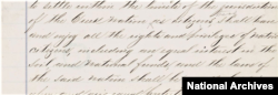 """Detail from Article Two of the ratified Indian Treaty with the Creeks, signed in Washington, D.C., June 14, 1866. It calls for Freedmen to """"enjoy all the rights and privileges of Native citizens."""" (National Archives)"""