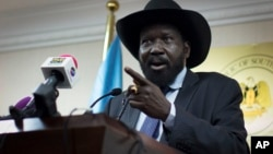 President Salva Kiir issued a decree announcing that he was firing his interior minister and the governor of Northern Bahr el Ghazal state, April 13, 2015.