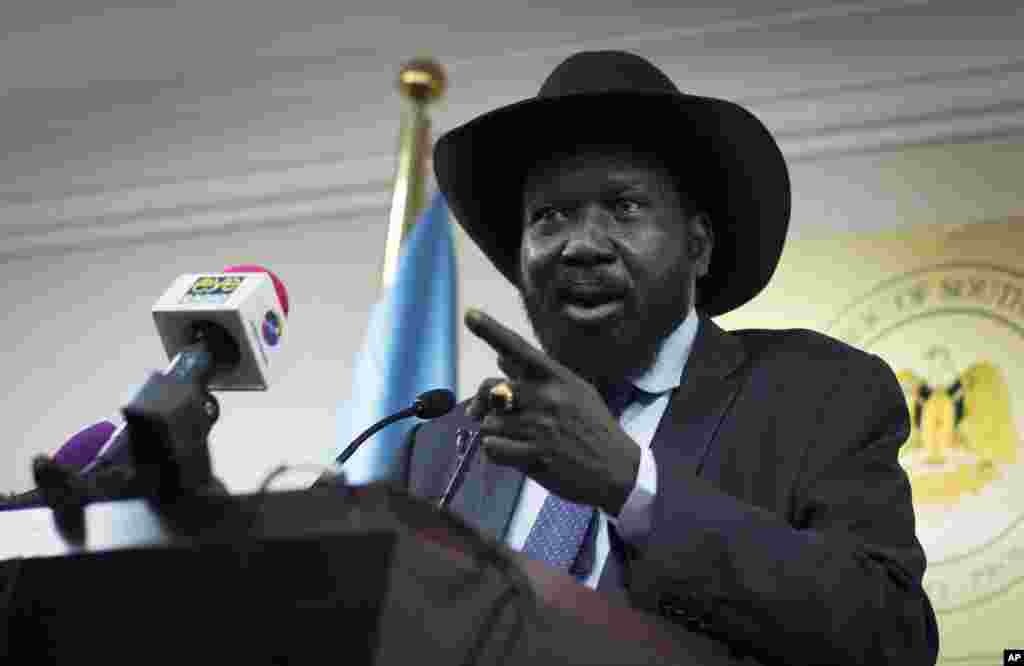 South Sudan's President Salva Kiir addresses the media in Juba, South Sudan.