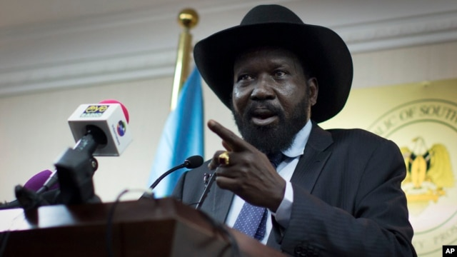 FILE - South Sudan's President Salva Kiir speaks to the media at a press conference in Juba, South Sudan.