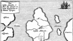 A map from the late 1600's shows Atlantis in the middle of the Atlantic Ocean