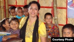 Rehana Parveen with Duaripara slum area children in Bangladesh, at Pallabi Hope School, run by Forward Hope.