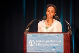 "Serkalem Fasil accepts the 2012 PEN American's ""Freedom to Write Award"" for her husband Eskinder Nega, imprisoned Ethiopian writer, in New York, May 1, 2012."