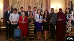 Winners of the Emerging Young Leaders Awards are honored in Washington, D.C., April 20, 2016. (VOA)