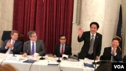 台湾候任副总统赖清德2020年2月4日在美国国会山国际宗教自由圆桌论坛发表讲话(美国之音锺辰芳拍摄)