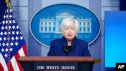FILE - Treasury Secretary Janet Yellen speaks during a press briefing at the White House, May 7, 2021.